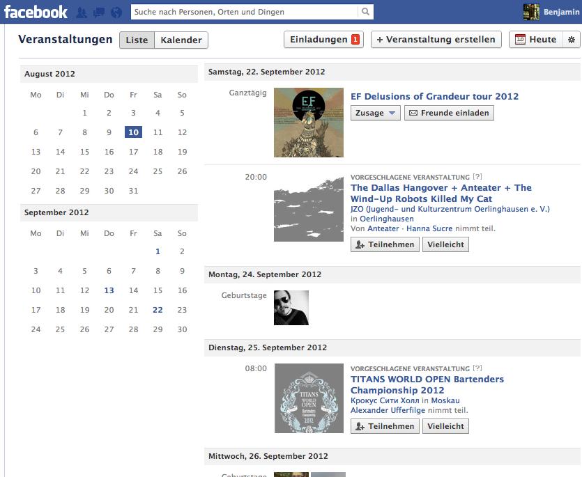 Facebook Veranstaltungen: verbesserte Ansicht und Vorschläge. - PC ...