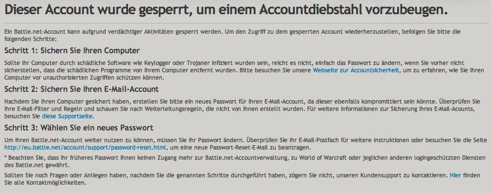 Battle-Net: Account aufgrund verdächtiger Aktivitäten gesperrt  - PC