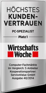"""PC-SPEZIALIST mit dem Siegel """"Höchstes Kundenvertrauen"""" von der WirtschaftsWoche ausgezeichnet."""