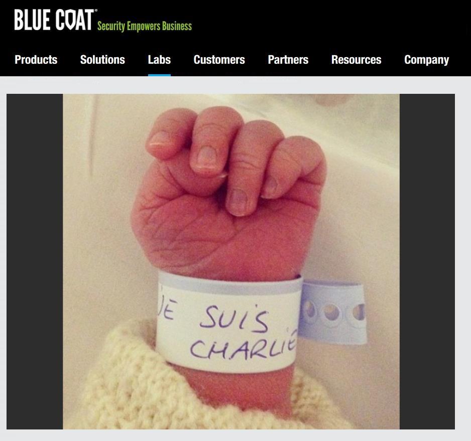 Screenshot Bluecoat.com 20.01.2015 Je suis Charlie Trojaner