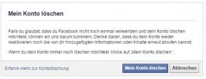 Screenshot Facebook Profil löschen