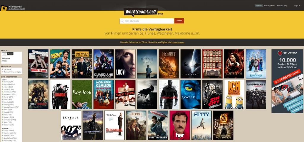 werstreamt.es Startseite Screenshot