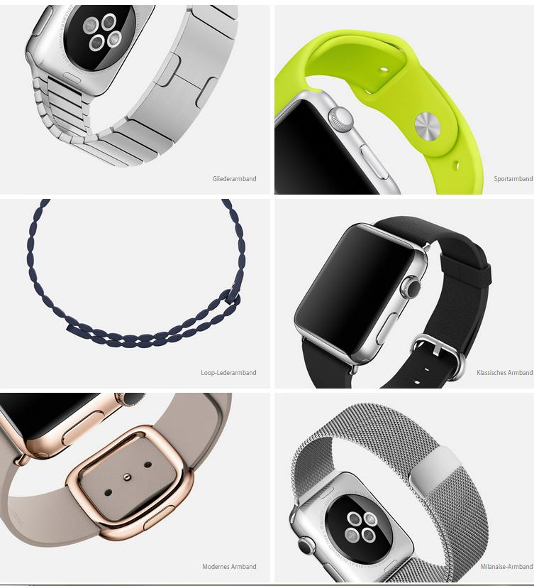 Apple Watch Design Armbänder Materialien