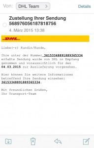 Gefälschte E-Mail DHL