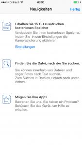 Screenshot der OneDrive iPhone App