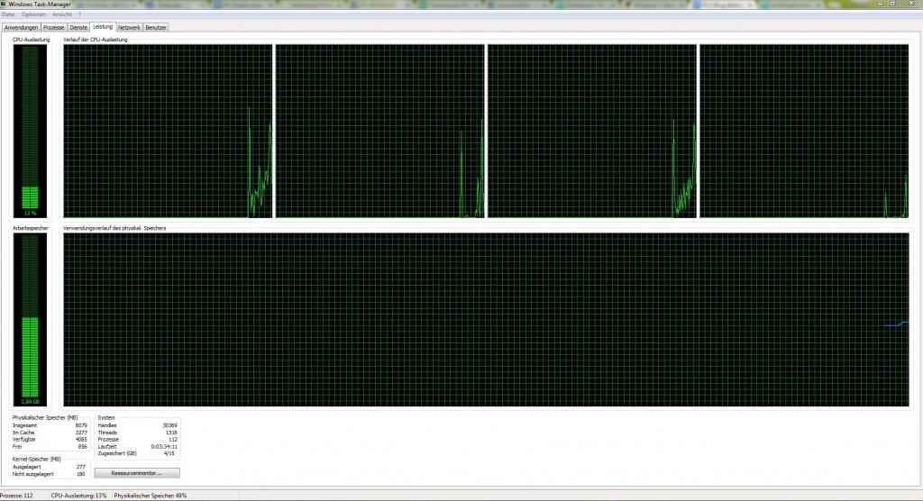 Screenshot Taskmanager rechner langsam