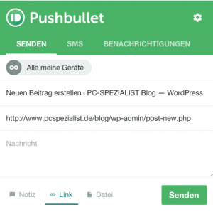 WhatsApp Benachrichtigungen in Pushbullet