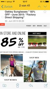 Spam E-Mail gefälschte Sonnenbrillen