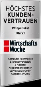"""1. Platz: Die Wirtschaftswoche bestätigt """"höchstes Kundenvertrauen""""."""