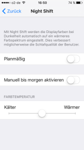 iphone nachtmodus night shift aktivieren