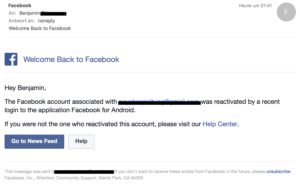 facebook phishing mail alert