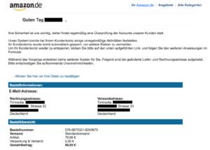 Amazon Phishing Mail: Fake erster Klasse
