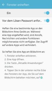Android Funktionen: Fenster anheften