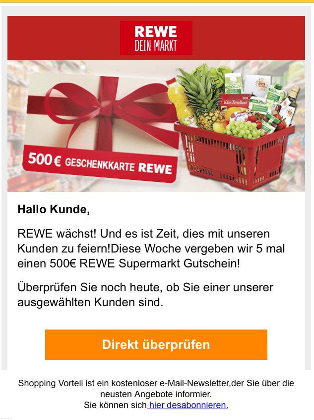 500 euro rewe gutschein email. Black Bedroom Furniture Sets. Home Design Ideas