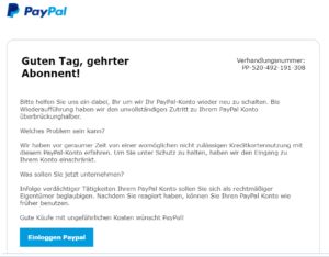 paypal inkasso mail