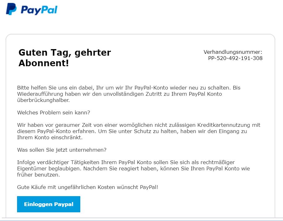 Paypal Inkasso Mail Phishing Mail Von Paypal Unterwegs