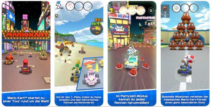 Zu sehen ist ein Screenshot aus Apples App Store, in dem verschiedene Ansichten aus Mario Kart Tour gezeigt werden. Bild: Screenshot