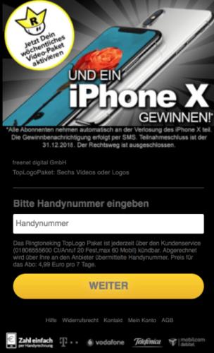 Apple E-Mail - iPhone X Gewinnspiel - Abofalle - Spammail. Foto: Screenshot