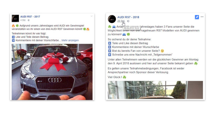 Facebook Gewinnspiel - Audi Gewinnspiel - Gewinnspiel Facebook - Auto gewinnen. Foto: Screenshot/Montage