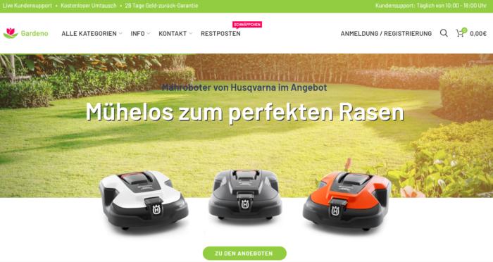 Vorkasse - Zahlungsarten - Fake-Shop - Gardeno-Maehroboter. Foto: Screenshot