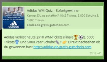 Neuer WhatsApp Spam – Wollt ihr Adidas Schuhe gewinnen?