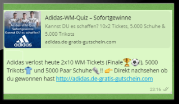 WhatsApp-Spam - Adidas Schuhe gewinnen - WhatsApp Gewinnspiel. Foto: Screenshot
