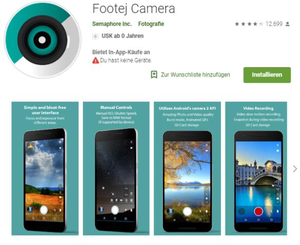 Nachtaufnahmen - Selfies - Android-Apps - Kamera-Apps. Foto: Screenshot