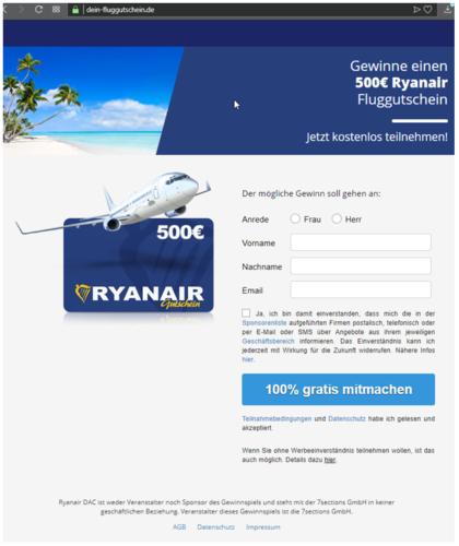Facebook Gewinnspiel - Datensammler - Ryanair Deutschland - Ryanair Gewinnspiel. Foto: Screenshot