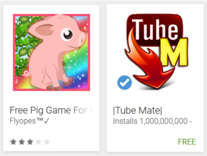 Android Store - Trickbetrug - App Name - App Icon - Android Apps. Foto: Screenshot
