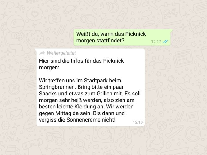 WhatsApp-Nachrichten weiterleiten - WhatApp weiterleiten - WhatsApp-Kettenbrief - Falschmeldung (Bild: WhatsApp)