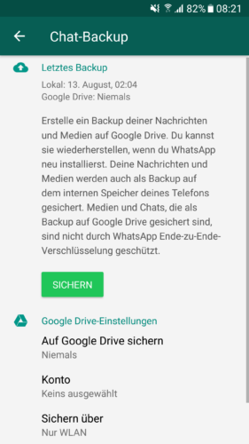 WhatsApp-Datensicherung - Wie mache ich ein Backup - WhatsApp Chat Backup - Google WhatsApp - WhatsApp sichern. Foto: Screenshot