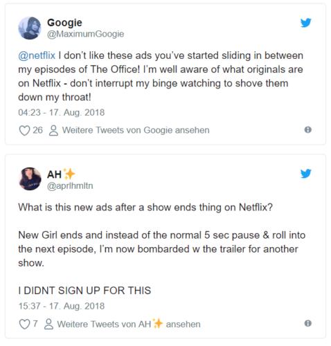 Netflix Werbung - Werbung auf Netflix - Binge Watching - Streamingdienst. Foto: Screenshot