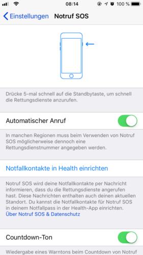 Apple-Notruf - iPhone-Notruf - SOS - SOS iPhone. Foto: Screenshot