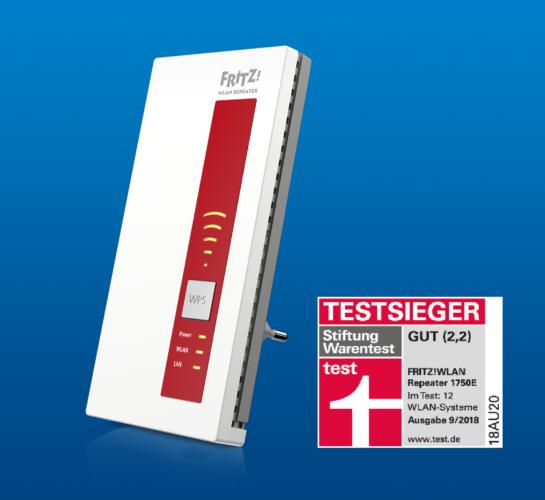 """Testseiger - AVM - AVM Repeater - AVM Fritz - WLAN Repeater 1750E - Note """"gut"""". Foto: AVM"""