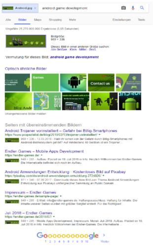 Google-Bilderkennung - Google Suche - Suchmaschine Google. Foto: Screenshot