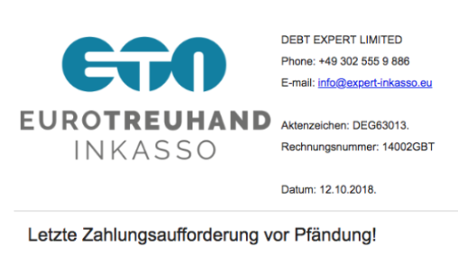 Der Screenshot zeigt einen Ausschnitt aus der E-Mail, in der die Pfändung angedroht wird. Foto: Screenshot