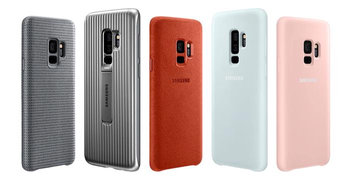 Fünf Samsung-Galaxy-9-Smartphones in verschiedenen Designs warten auf das Update auf Android Pie. Foto: Screenshot Samsung
