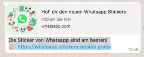 Abgebildet ist der Screenshot eines WhatApp-Kettenbriefs, der WhatsApp-Sticker verspricht. Foto: Screenshot