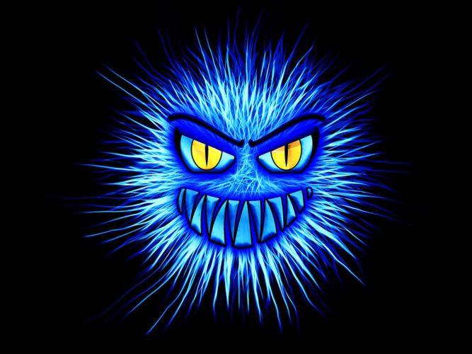 Das Bild zeigt eine Zeichnung eines Virus, der böse guckt. Es symbolisiert Emotet. Foto: Pixabay