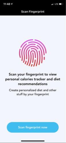 Der Screenshot zeigt die Aufforderung der Apple-Apps, den Fingerabdruck-Scan zu starten.