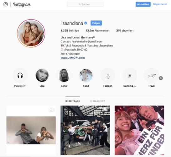 Zu den Instagram-Highlights gehören die Influencerinnen Lisa und Lena. Foto: Screenshot