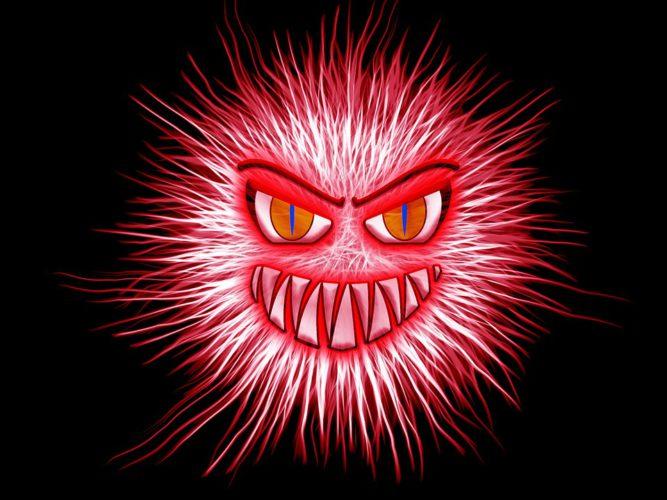 Das Bild zeigt einen roten Virus, der böse grinst. Er symbolisiert den Virus in der DSGVO-E-Mail. Foto: Pixabay