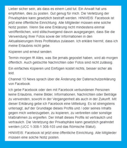Screenshot des Facebook-Post, den alle Nutzer in ihrer Chronik posten sollten.