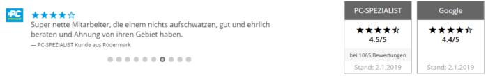 Der Screenshot zeigt Bewertungen auf der PC-SPEZIALIST-Seite.