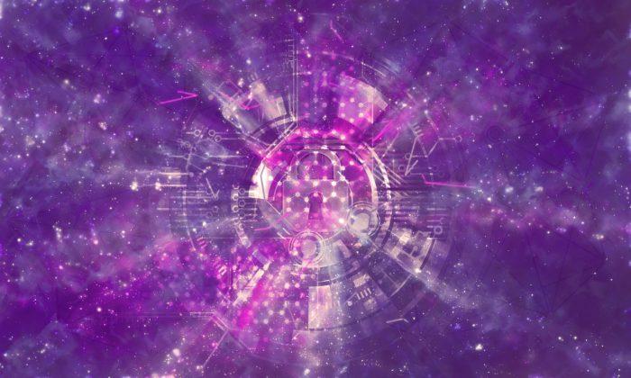 violetter Hintergrund mit Schloss in der Mitte - Hacking