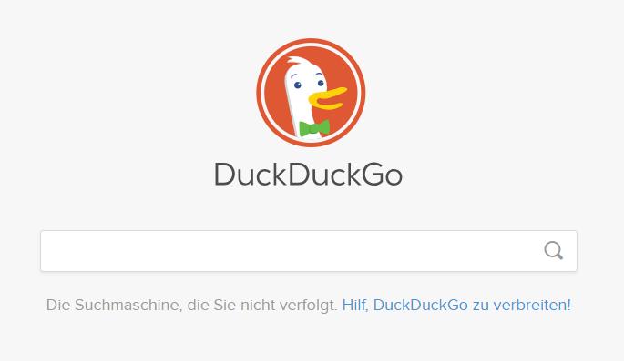 Screenshot der Seite DuckDuckGo, mit der ihr anonym im Internet surfen könnt.