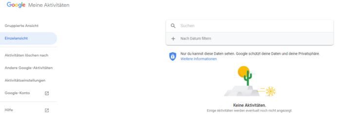 """Der Screenshot zeigt die Seite """"Meine Aktivitäten"""" bei Google."""