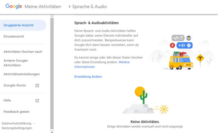 Der Screenshot zeigt eure Google-Aktivitäten zum Thema Spracheingabe.