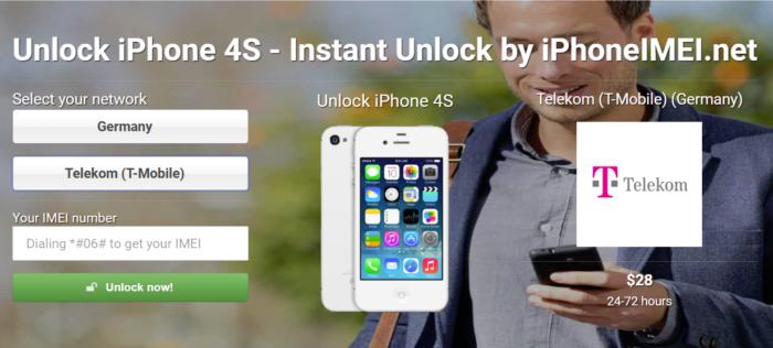 Der Screenshot zeigt den Preis für das iPhone entsperren eines iPhone 4S mit dem Anbieter Telekom. Foto: Screenshot