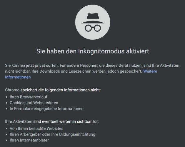 Der Screenshot zeigt die Startseite des Inkognito-Modus.
